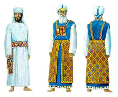 The clothes of the priests (left) and the High Priest (right), presented by the Temple Institute in Jerusalem.
