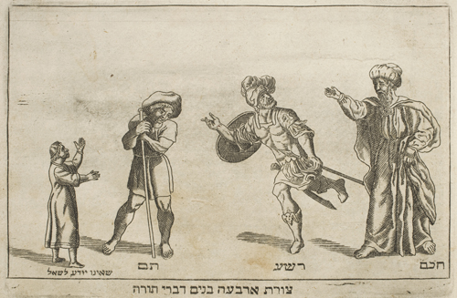 Illustration of the Four Sons from a 1695 Haggadah printed in Amsterdam. Image retrieved from the University of Chicago Library News.