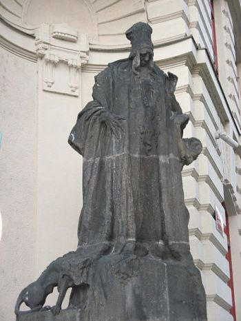 Statue of the Maharal outside Prague's city hall.